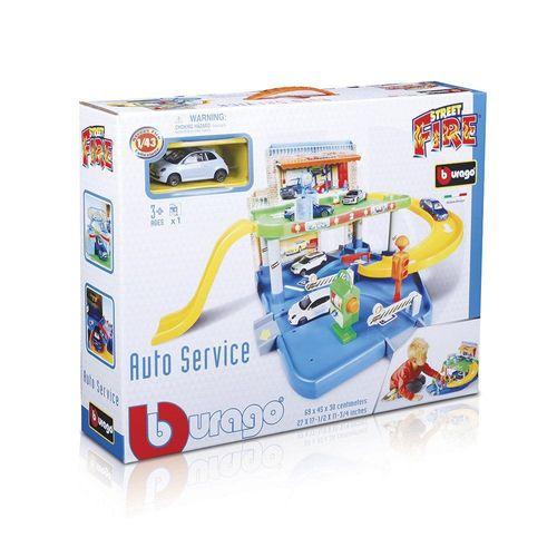30039_Playset_com_Carrinho_Garagem_Auto_Service_Street_Fire_Burago_1