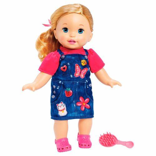 FLB80_Boneca_Little_Mommy_Doce_Bebe_Loira_Vestido_Jeans_Mattel_1