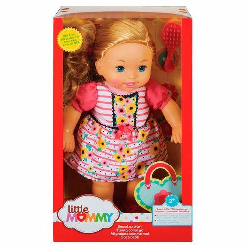FLB80_Boneca_Little_Mommy_Doce_Bebe_Loira_Vestido_Rosa_com_Flores_Mattel_2