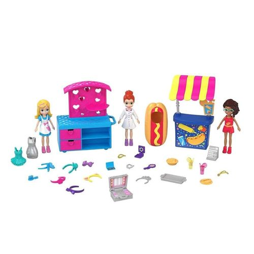 GFR10_Kit_com_3_Mini_Bonecas_Polly_Pocket_Carrinhos_de_Moda_e_Comida_Mattel_1