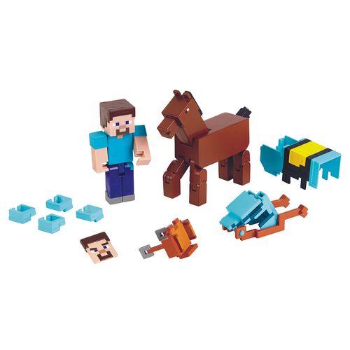 GRD93_Figura_Articulada_Minecraft_Steve_e_Cavalo_com_Armadura_Mattel_1
