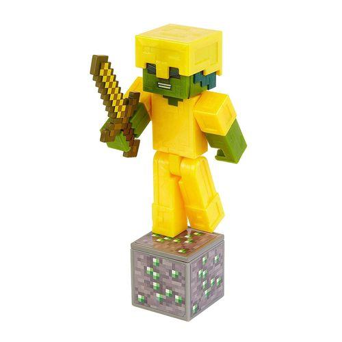 GRD74_Mini_Figura_Articulada_Minecraft_8_cm_Zombie_Em_Armadura_Dourada_Mattel_1