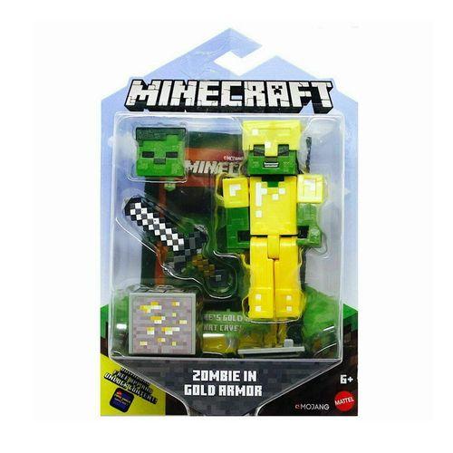 GRD74_Mini_Figura_Articulada_Minecraft_8_cm_Zombie_Em_Armadura_Dourada_Mattel_2