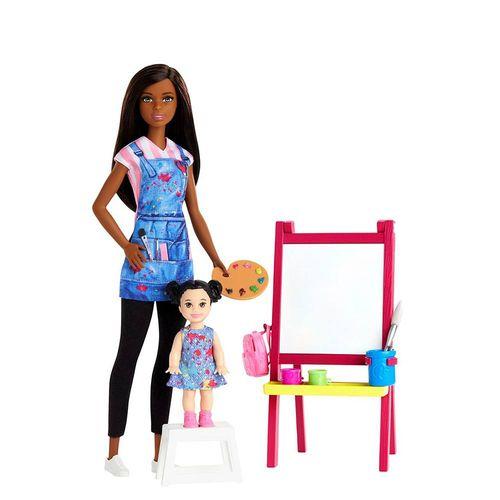 DHB63-Boneca-Barbie-com-Acessorios-Profissoes-Barbie-Professora-de-Arte-Negra-Mattel-2