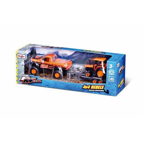 19-21224-Conjunto-com-2-Veiculos-4x4-Rebels-2004-Dodge-Ram-SRT-10-e-Trator-Maisto-2